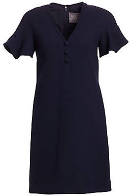 Lela Rose Women's Handkerchief Sleeve Wool Crepe Shift Dress