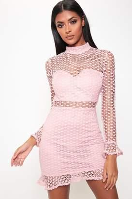 I SAW IT FIRST Rose Crochet Lace Open Back Dress
