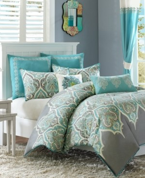 Madison Home USA Nisha Cotton Sateen 7-Pc. Full/Queen Comforter Set Bedding