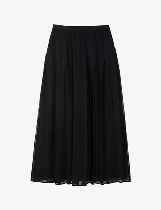 The White Company Georgette pleated satin midi skirt