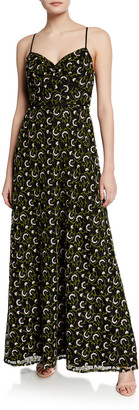 Jill Stuart Embroidered Sweetheart Spaghetti-Strap A-Line Gown