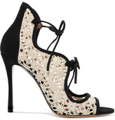 Tabitha Simmons Cali Daisy Guipure Lace And Suede Sandals - Off-white