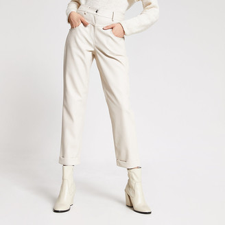 River Island Cream faux leather Mom trousers