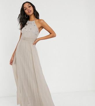 Asos Tall DESIGN Tall embroidered halter pleated maxi dress-Grey