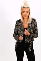 Pink Boutique Maneater Brown Leopard Print Cropped Biker Jacket