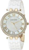 Anne Klein Women's Quartz Metal and Ceramic Dress Watch, Color:White (Model: AK/2130WTGB)