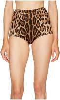 Dolce & Gabbana Stretch Satin Cheetah High Waisted Panty Women's Pajama