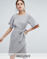 Closet London Closet Tie Front Dress With Kimono Sleeve