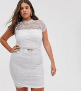 Paper Dolls Plus peplum midi lace dress with belt in white