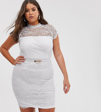 Paper Dolls Plus peplum midi lace dress with belt in white