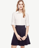 Ann Taylor Collared Mixed Media Top