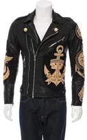 Balmain Embellished Leather Biker Jacket