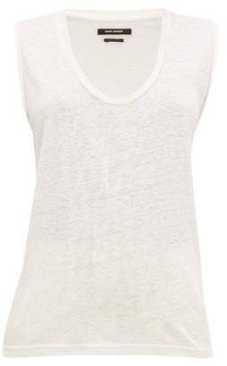 Isabel Marant Maik Scoop Neck Linen Top - Womens - White