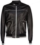 Dolce & Gabbana Contrast Stitch Leather Jacket
