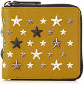 Jimmy Choo LAWRENCE Mustard Leather Zip Around Wallet with Gunmetal Multi Metal Stars