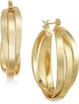 Essentials Medium Silver Plated Multi-Ring Interlocked Hoop Earrings