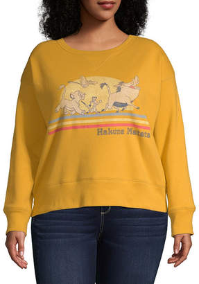 Fifth Sun Juniors Plus Womens Crew Neck Long Sleeve The Lion King Sweatshirt
