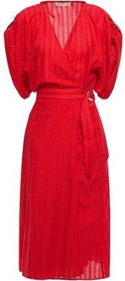 Vanessa Bruno Gathered Jacquard Midi Wrap Dress