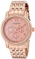 Akribos XXIV Women's AK626RG Lady Diamond Multifunction Diamond and Crystal Rose-tone Stainless Steel Bracelet Watch