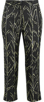 Proenza Schouler Cropped Printed Silk-Twill Straight-Leg Pants