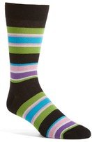 Lorenzo Uomo Men's Rugby Block Stripe Crew Socks
