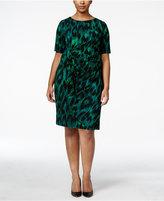 Connected Plus Size Printed Faux-Wrap Sheath Dress