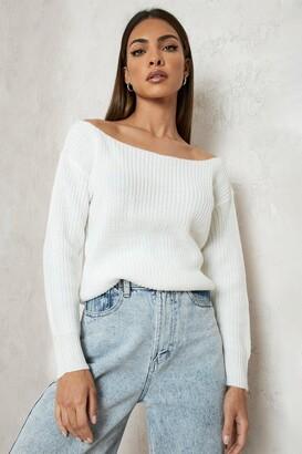 boohoo Slash Neck Crop Fisherman Sweater