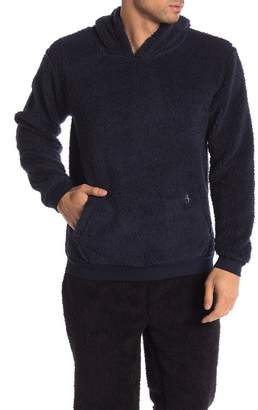 Original Penguin Hooded Faux Shearling Fleece Pullover