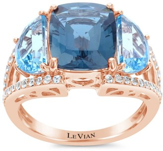 LeVian Le Vian 14K Strawberry Gold,Deep Sea Blue Topaz, Signity Blue Topaz & Vanilla Sapphire Ring