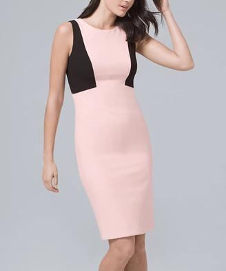 White House Black Market Women's Casual Dresses Goddess - Goddess Pink & Black Color Block Body Perfecting Sheath Dress - Women