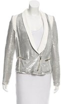 IRO Leather-Paneled Sequin Blazer