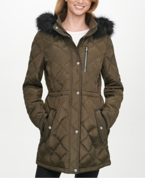 DKNY Petite Faux-Fur-Trim Hooded Quilted Water-Resistant Anorak Coat, Created for Macy's