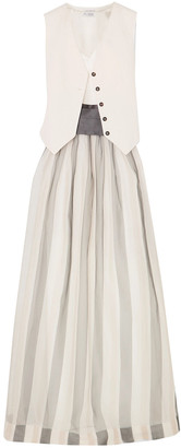 Brunello Cucinelli Belted Striped Herringbone Cotton And Linen-blend, Silk-blend Satin And Organza Maxi Dress