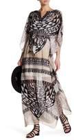 Hale Bob V-Neck Embellished Print Silk Dress