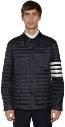 Thom Browne Quilt Matte Nylon Down Jacket W/stripes