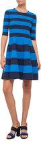 Akris Punto Striped Half-Sleeve Milano-Knit Dress, Navy/Azure