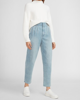 Express Super High Waisted Embellished Pleated Trouser Jeans