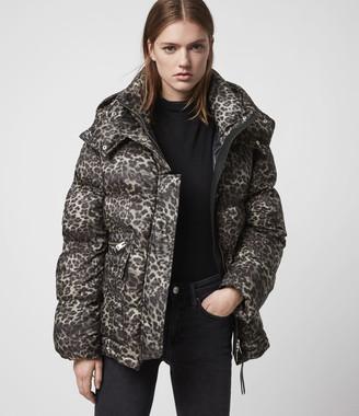 AllSaints Kala Leopard Puffer Coat