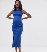 True Violet Maternity thigh split maxi dress