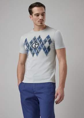 Giorgio Armani T-Shirt With Geometric Motif And Fil Coupe Logo