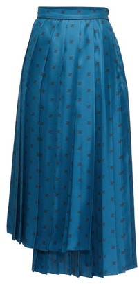Fendi Karligraphy Pleated Logo-print Silk Midi Skirt - Blue Multi