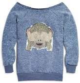 Vintage Havana Girls' Emoji Monkey Flip Sequin Sweatshirt - Big Kid