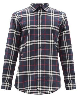 Burberry Caxton Checked Cotton-poplin Shirt - Navy Multi