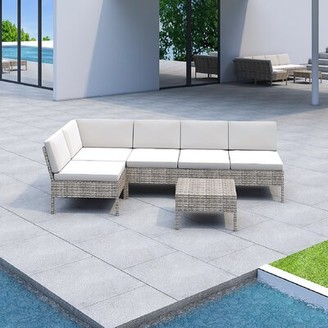 BEIGE Bromborough 6 Piece Rattan Sectional Seating Group with Cushions One Allium Way Cushion Color