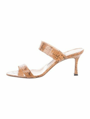 Manolo Blahnik Cork Slide Sandals Tan