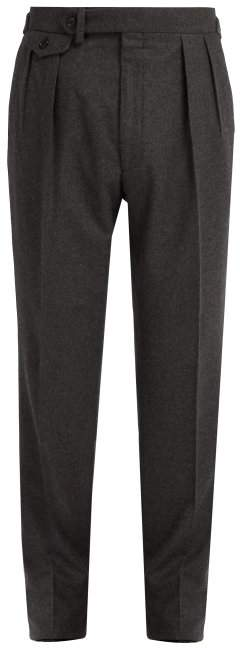 Ralph Lauren Purple Label Straight Leg Wool Flannel Trousers - Mens - Dark Grey