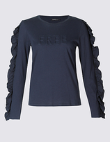 Limited Edition Pure Cotton Embossed Long Sleeve T-Shirt