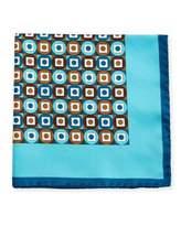Kiton Geometric Printed Silk Pocket Square, Teal