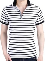 Partiss Men's Summer Fashion Slim Fit Contrast Color Stand Collar T-shirt