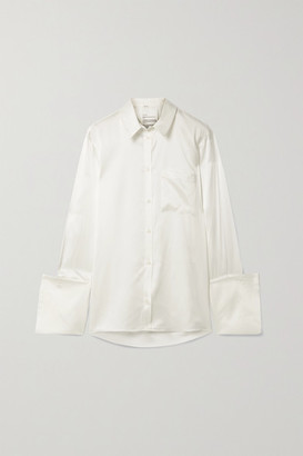 BITE Studios Net Sustain Organic Silk-satin Shirt - Off-white